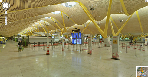 Google Street View shows check-in at Spain's Madrid-Barajas airport.