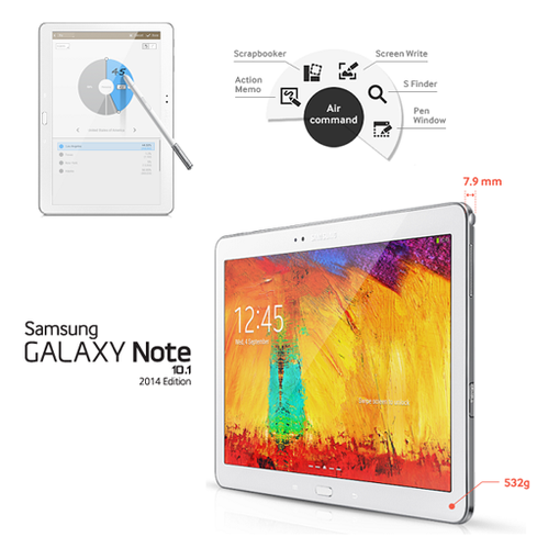 Samsung's Galaxy Note 10.1 boasts not only a 2560x1600-pixel display but also stylus support.