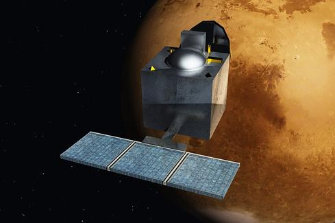 Artist's rendering of India's Mars mission. (Source: Wikimedia Commons)