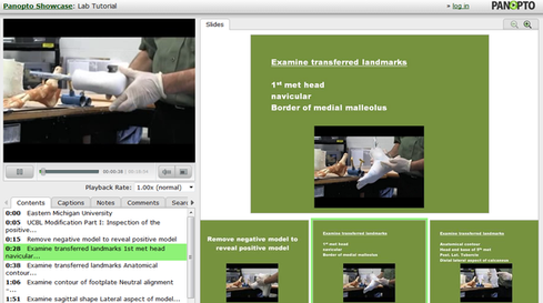 Video of an Eastern Michigan University orthotics lecture indexed to a set of slides.