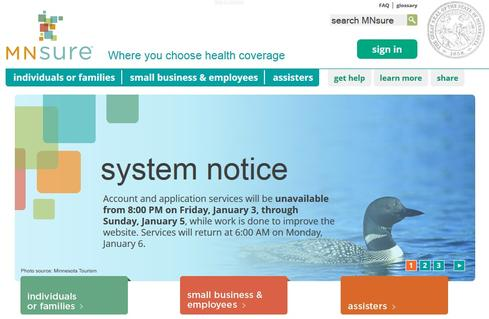 Minnesota's MNsure health insurance exchange site was down over the weekend as work continued to address technical problems.