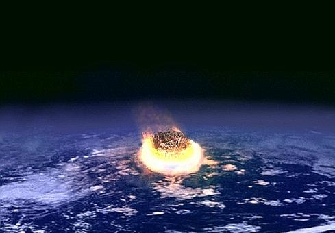 Artist's conception of an asteroid impact on Earth.(Source: Wikipedia)