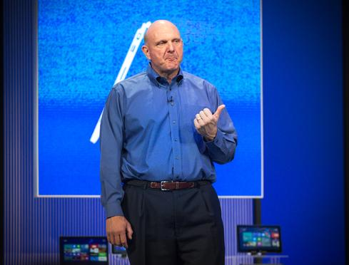 Outgoing Microsoft CEO Steve Ballmer takes the stage at the Microsoft Build Developers conference in June.(Source: Michael Endler)