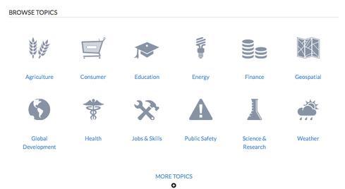 Screenshot from Data.gov