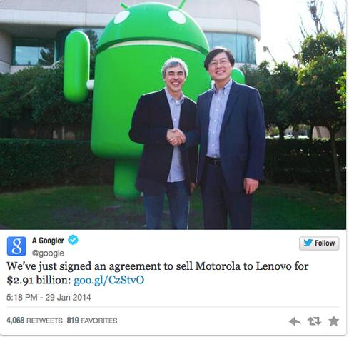 Tweet from Google CEO Larry Page, with Lenovo CEO Yang Yuanqing.