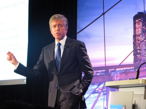 SAP co-CEO Bill McDermott at an investor-relations meeting in New York.