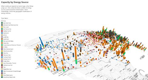 A Power Map data visualization powered by Bing mapping information.