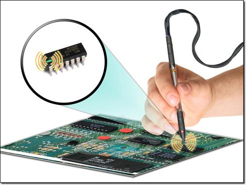 Artist's concept of tool for detecting counterfeit electronic components. Courtesy of DARPA