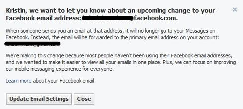 Facebook alerted users to upcoming email changes this week.