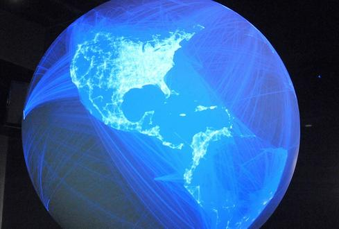 Data mining practices raise fresh concerns among public-sectorgroups who increasingly rely on cloud services.(Image: Facebook connections on NOAA's Science on a Sphere.)