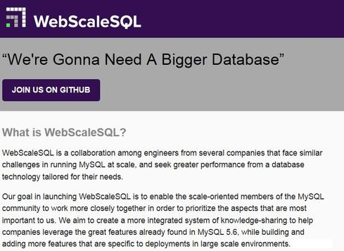WebScaleSQL.org's mission statement lays out the group's goals.