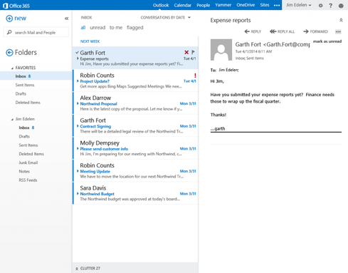 Outlook Web App's new Clutter feature keeps the inbox tidy by learning which messages the user is likely to read.