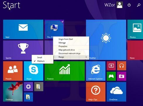 This screenshot from an alleged build of the Windows 8.1 update shows Live Tiles with new support for mouse input.(Source: WZor)