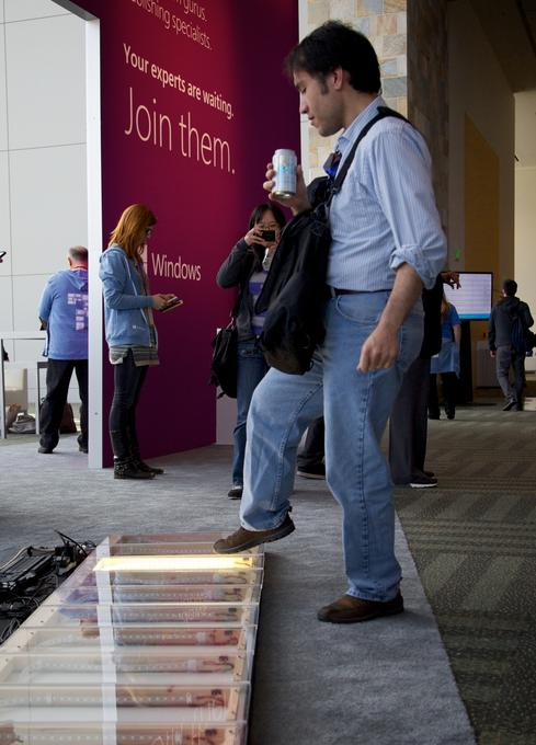 A Build attendee tests out Microsoft's Windows-powered piano.