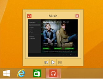Modern apps are now accessible from the taskbar, and some, such as the Xbox Music app, even integrate controls into a thumbnail preview. (Source: Microsoft)
