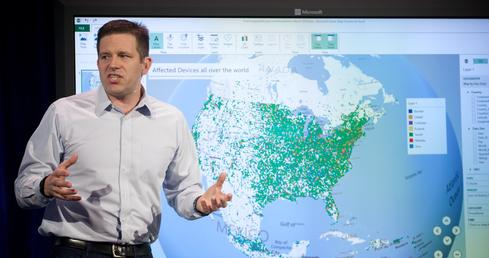 Microsoft GM Eron Kelly demonstrates how Microsoft's new products visualize complex data sets.