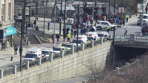 After two bombs exploded, ambulances lined up to take the injured to local hospitals, including Brigham and Women's.(Source: Rebecca Hildreth/Flickr)