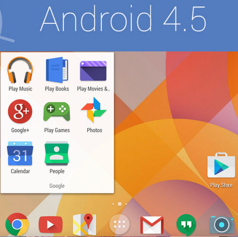 Android 4.5Google I/O also would be good showcase for Android 4.5, which is said to run on the rumored Nexus 8. Tech sites Android Police and Grabi have detailed summaries of Android 4.5's alleged attributes. Code-named 'Moonshine,' the next iteration of Google's mobile operating system reportedly sports a 'flatter' motif with fewer textures and shadows, a look popularized by Microsoft Windows 8 and Apple iOS 7. But beyond the flat aesthetic and maybe a slightly redesigned Android dialer, there probably won't be many blockbuster enhancements until Android 5.0 comes around.