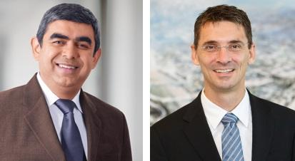 Vishal Sikka, left, and Bernd Leukert, now the highest-ranking technology leader on SAP's Executive Board.