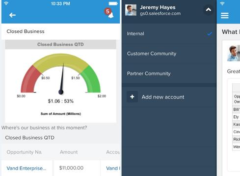 Planned Salesforce1 Mobile App upgrades include Drill to Report, left, which lets you go from a KPI to the details, and Account and Community Switcher, right, which is designed to ease navigation.