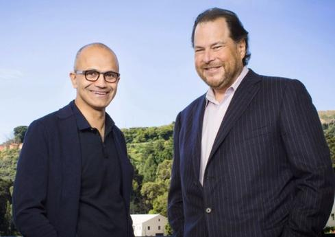 Microsoft CEO Satya Nadella, left, and Saleforce.com CEO Marc Benioff.