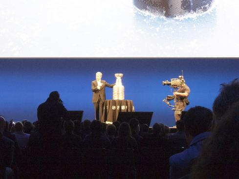 Bill McDermott shares the Sapphire keynote stage with the Stanley Cup  (Image: Curtis Franklin, Jr., for InformationWeek)