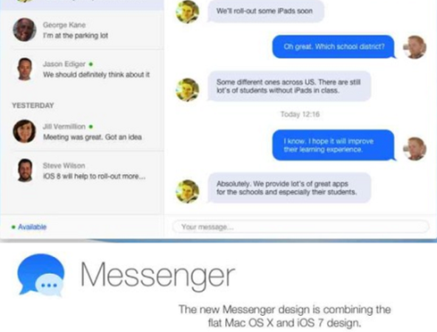 OS X's Messenger adopts the flatter look.