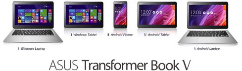 Asus calls the Transformer Book V a 'five mode' device. It's an Android tablet, laptop, and smartphone and a Windows 8.1 tablet and laptop.