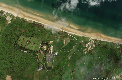 Skybox satellite image of Normandy American Cemetery and Memorial, Colleville-sur-Mer, France, on May 6, 2014.