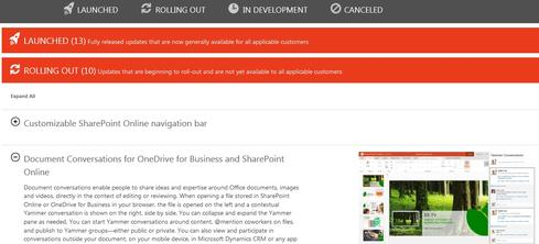 Microsoft's Office 365 public roadmap website.