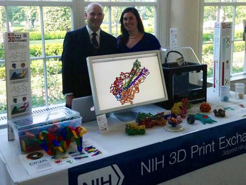 3D modeling of moleculesDarrell Hurt, a structural biologist working at the National Institutes of Health (NIH), came up with the NIH 3D Print Exchange project, where anyone can create, share, and download 3D-printable models of proteins, viruses, cellular structures, organs, and even lab equipment. The NIH 3D Print Exchange also provides modeling tutorials and educational materials that can be used in classrooms.  Image source: National Institutes of Health