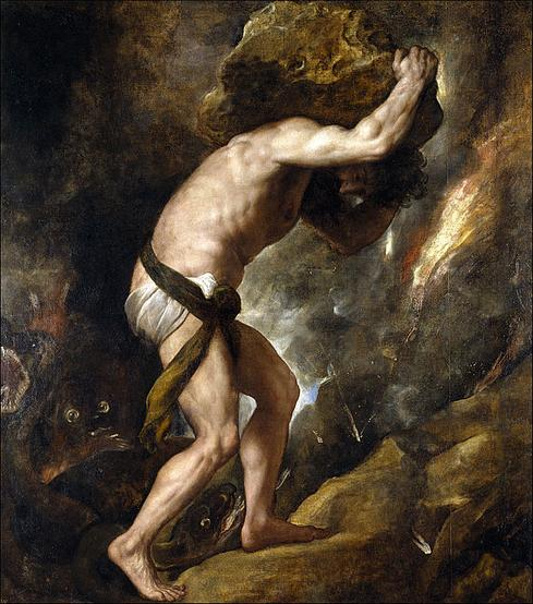 Sisyphys, painting by Titian (Source: Prado Museum, Madrid, Spain, via Wikipedia)