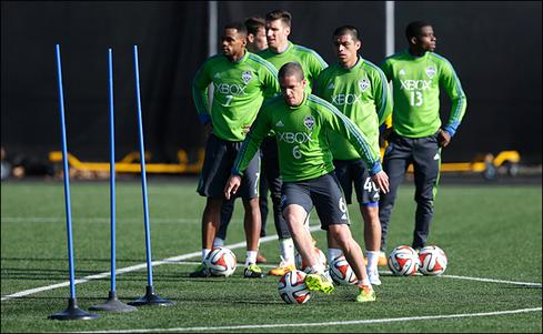 During every practice, Sounders players wear snug vests under their jerseys containing fitness-tracking wearables.