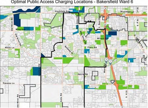 Locating electric car charging stations to ease pollutionUsing government census and economic data, along with mapping software from Esri and the Google Places API, analysts working for the San Joaquin Valley's air-pollution control agency identified the best locations -- above in dark blue -- of cities along Route 99 in California to place 'fast chargers' that work in 30 minutes to charge electric cars. Unlike the existing charging stations (flagged number 1 and 3 on the map) the blue areas are located where people spend time shopping, attending events, or going to doctor's appointments. That way, people can charge their cars while they are busy on errands and other activities. (Source: California Center for Sustainable Energy)