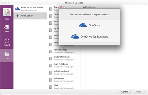 OneNote for Mac can now connect to OneDrive for Business.