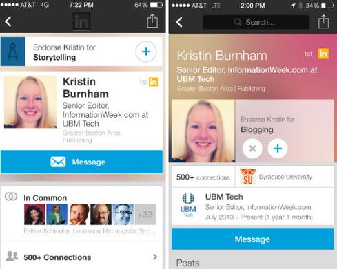 LinkedIn's old profile view (left) and the redesigned mobile profile (right).
