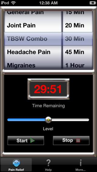 Pain relief  Suffer from migraines, fibromyalgia, or chronic pain? Several developers claim their apps help allay these conditions, much to the concern of some medical professionals. 'Pain apps appear to be able to promise pain relief without any concern for the effectiveness of the product, or for possible adverse effects of product use. In a population often desperate for a solution to distressing and debilitating pain conditions, there is considerable risk of individuals being misled,' according to researchers at the Centre for Pain Research, University of Bath, England. Today, consumers can choose apps like Pain Killer 2.0, which claims: 'If you have chronic pain or ANY pain -- you need this. Put your headphones on and tap Start. Your pain melts away in minutes. It's that easy.' Or they could select Pain Relief 2.0, PainKill Free WellWave, which has 'beneficial sounds for pain relieving,' or Headache Rife, which uses color and sound to target headache pain.  (Source: PainKiller 2.0)