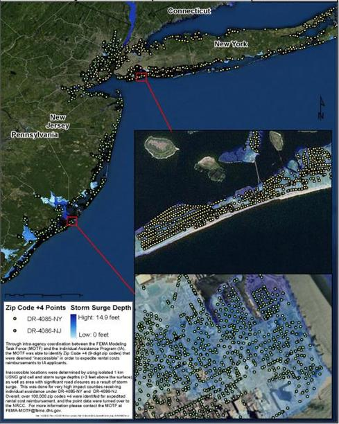 (Source: FEMA) Pictured here are FEMA's disaster applications of 3D terrain data. Following Hurricane Sandy in 2012, FEMA was able to identify 44,000 households as damaged and inaccessible. As a result, the agency provided $130 million in expedited assistance based on accurate and rapid flood depth information.