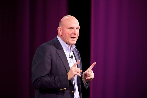 Former Microsoft CEO Steve Ballmer speaks at the Windows Phone 8 launch in October 2012.