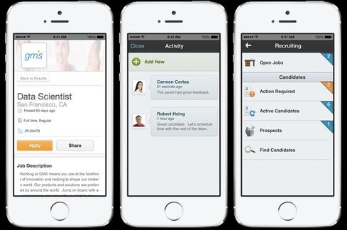 Workday Recruiting collaborative interfaces for mobile devices.