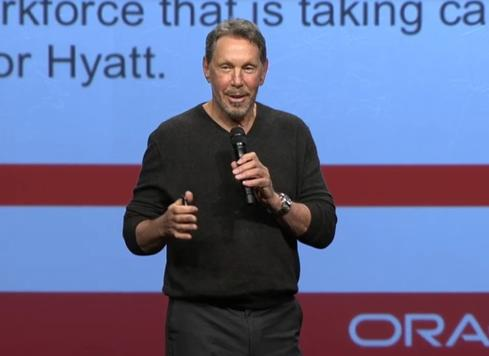 Oracle CEO Larry Ellison highlights the company's cloud-based Human Capital Management applications at a presentation in February.
