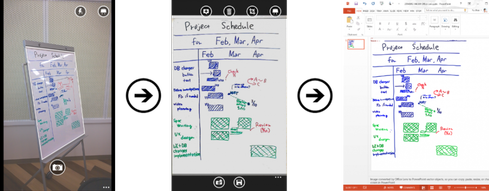 With Office Lens, Windows Phone users can turn photos of whiteboard notes into editable PowerPoint documents.