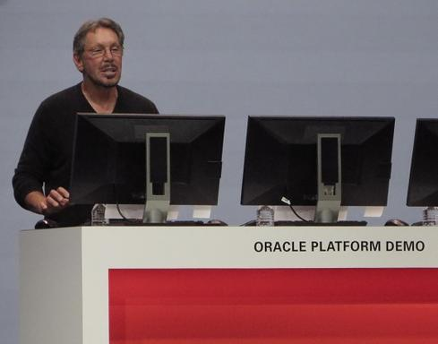 Oracle executive chairman and CTO, Larry Ellison, demonstrates Oracle's platform-as-a-service offerings.