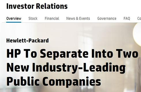 HP's Investor Relations site sells the split-up plan to stockholders. The stock was up more than $1.70 on the news.