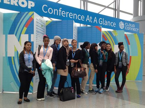 Students from the Bronx Academy for Software Engineering and the Bronx International High School pose after attending a Women In Tech panel at Interop New York.