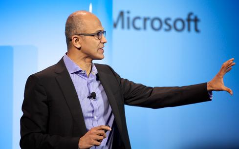 Microsoft CEO Satya Nadella speaks at an April 2014 event.