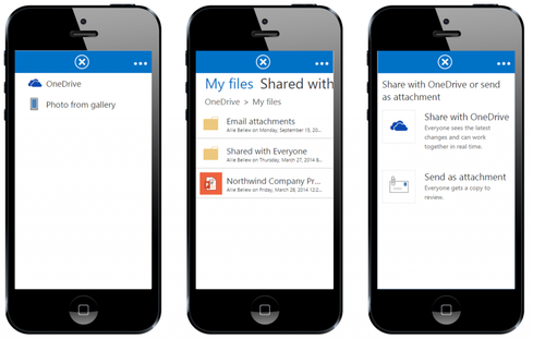 OWA lets users share files either as conventional attachments or as links to files stored in OneDrive for Business.