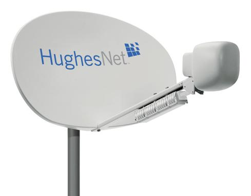 The ground level problem In 1996, the first direct-satellite Internet service was introduced as DirecPC (now HughesNet). It was allocated only a few slots in the high end of the L and the low end of the Ku microwave bands, i.e. a cluster of frequencies around 12 GHz, which is far below the 20 GHz to 30 GHz of today's Ka-band satellite transmission. Low frequency physically implies three problems at once: wide beams, low bit rates, and big antennae. All the same, it offered a then-awesome 400 kbps (compared to the 56 kbps of the dial-up services most people and businesses still had).