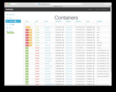 StackEngine's Docker container dashboard.