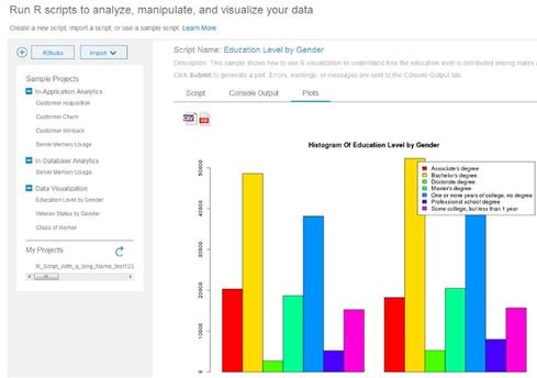 IBM DashDB touts the ability to quickly load and view data, build BI and analytic apps, and 'run R scripts to analyze, manipulate, and visualize data.'